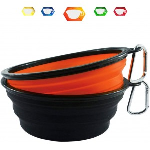 Tropical Petland Portable Travel Collapsible Pet Bowl Large 100ml Pack of 2 (Orange-Black)