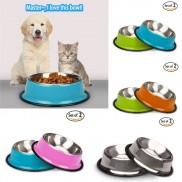 Non Skid Stainless Steel Cat Bowls With Natural Rubber Base  (Pack of 2)